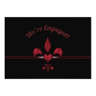 Fiesta de compromiso negro rojo del corazón de la invitación 12,7 x 17,8 cm