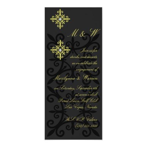 Fiesta de compromiso negro y amarillo sofisticado invitación 10,1 x 23,5 cm