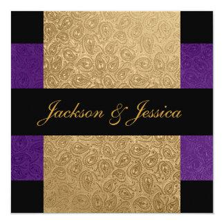 """Fiesta de compromiso púrpura de Paisley del oro Invitación 5.25"""" X 5.25"""""""