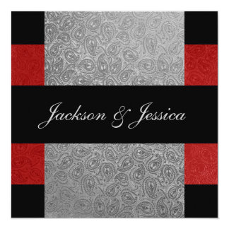 """Fiesta de compromiso rojo y gris elegante de invitación 5.25"""" x 5.25"""""""