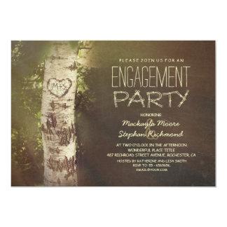 """Fiesta de compromiso rústico del árbol de abedul invitación 5"""" x 7"""""""