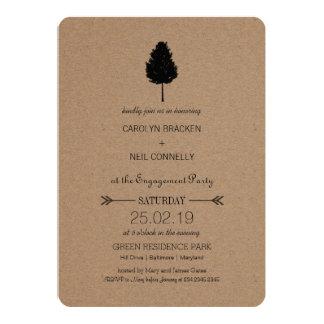 """Fiesta de compromiso rústico del árbol forestal invitación 5"""" x 7"""""""