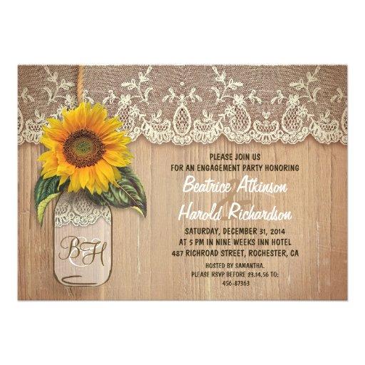 fiesta de compromiso rústico del tarro de albañil  invitaciones personalizada