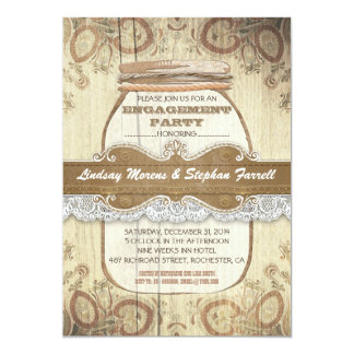 fiesta de compromiso rústico del tarro de albañil invitacion personalizada