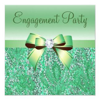 Fiesta de compromiso verde de las lentejuelas, del invitación 13,3 cm x 13,3cm