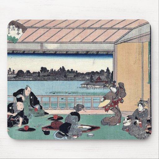 Fiesta de consumición en el restaurante por Andō,  Alfombrilla De Ratones