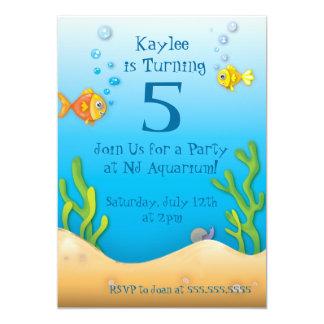 fiesta de cumpleaños a pescado del acuario lindo invitacion personal