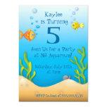 """fiesta de cumpleaños a pescado del acuario lindo invitación 5"""" x 7"""""""