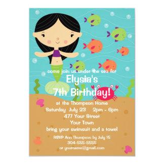 Fiesta de cumpleaños adaptable de la sirena de la invitacion personal