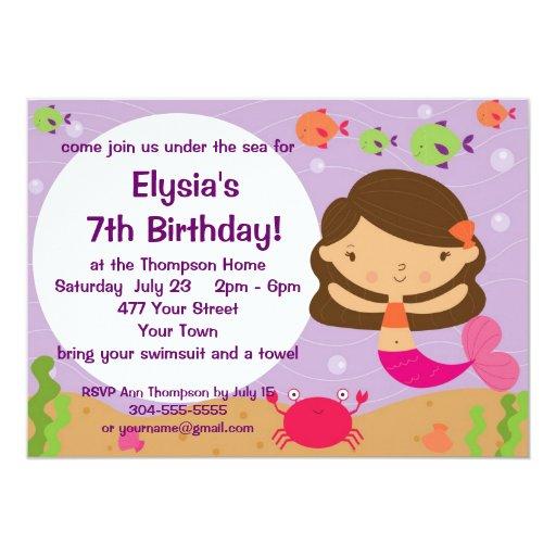"""Fiesta de cumpleaños adaptable de la sirena invitación 5"""" x 7"""""""