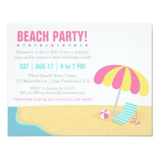 """Fiesta de cumpleaños adolescente de la playa del invitación 4.25"""" x 5.5"""""""
