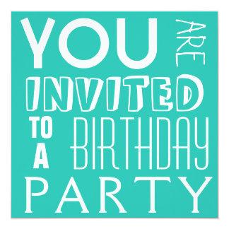 """Fiesta de cumpleaños adolescente de la tipografía invitación 5.25"""" x 5.25"""""""