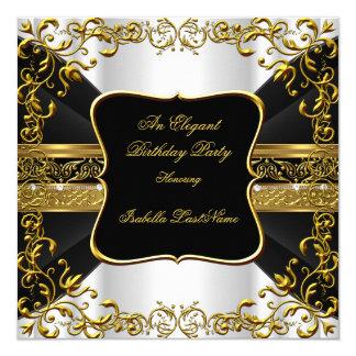Fiesta de cumpleaños adornada del oro negro blanco invitación 13,3 cm x 13,3cm