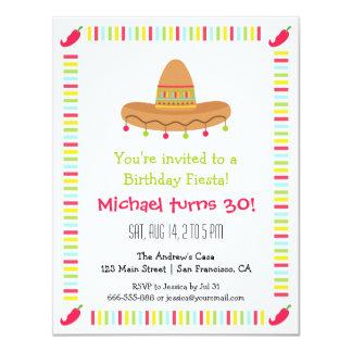 """Fiesta de cumpleaños adulta de la fiesta mexicana invitación 4.25"""" x 5.5"""""""