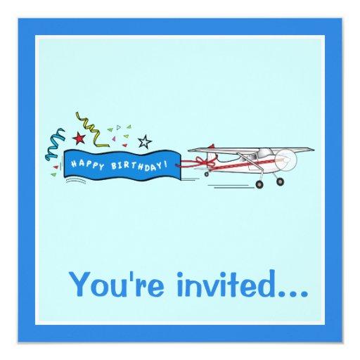 """Fiesta de cumpleaños: Aeroplano con la flámula Invitación 5.25"""" X 5.25"""""""