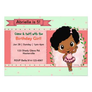 Fiesta de cumpleaños afroamericana del ballet o de invitación