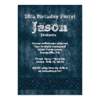 """Fiesta de cumpleaños agrietada del dril de algodón invitación 5"""" x 7"""""""