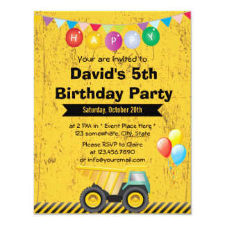 """Fiesta de cumpleaños amarilla del muchacho del invitación 4.25"""" x 5.5"""""""