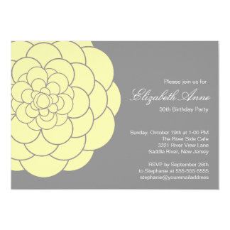 Fiesta de cumpleaños amarilla moderna de la invitación 12,7 x 17,8 cm