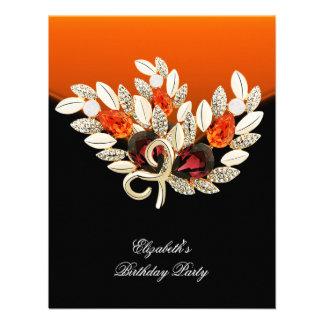 Fiesta de cumpleaños ambarina anaranjada elegante  invitación