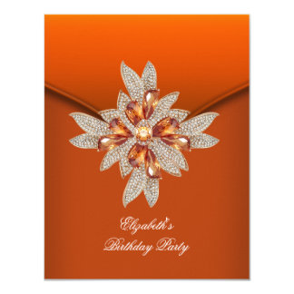 "Fiesta de cumpleaños ambarina anaranjada quemada invitación 4.25"" x 5.5"""
