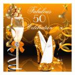 Fiesta de cumpleaños anaranjada del oro fabuloso 5 invitación personalizada