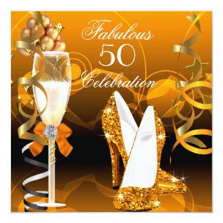 Fiesta de cumpleaños anaranjada del oro fabuloso invitación personalizada