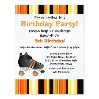 """Fiesta de cumpleaños anaranjada del patín de invitación 4.25"""" x 5.5"""""""