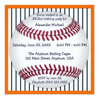 """Fiesta de cumpleaños anaranjada y azul del béisbol invitación 5.25"""" x 5.25"""""""