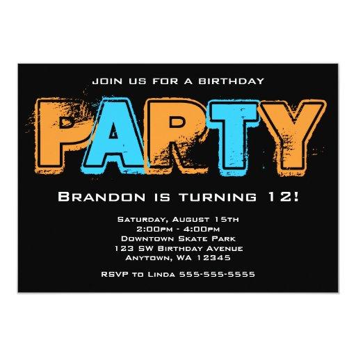 Fiesta de cumpleaños anaranjada y azul del Grunge Anuncio Personalizado