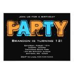 """Fiesta de cumpleaños anaranjada y azul del Grunge Invitación 5"""" X 7"""""""