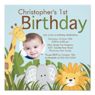 """Fiesta de cumpleaños animal del niño de la selva invitación 5.25"""" x 5.25"""""""