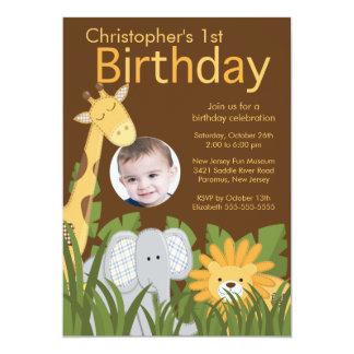 """Fiesta de cumpleaños animal del niño de la selva invitación 5"""" x 7"""""""