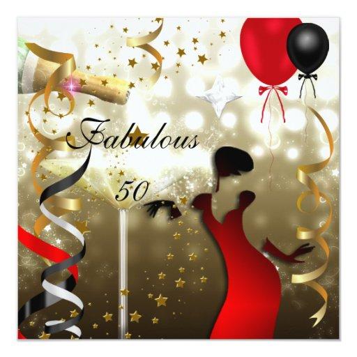 """Fiesta de cumpleaños atractiva cincuenta de señora invitación 5.25"""" x 5.25"""""""