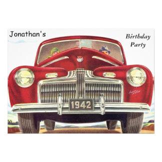 Fiesta de cumpleaños auto del vintage rojo anuncio