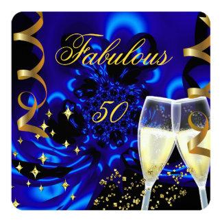 """Fiesta de cumpleaños azul abstracta del oro 50 invitación 5.25"""" x 5.25"""""""