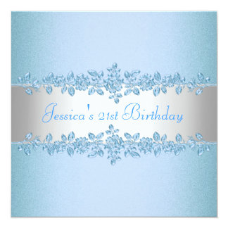 Fiesta de cumpleaños azul bonita elegante de los invitación 13,3 cm x 13,3cm