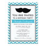 Fiesta de cumpleaños azul de Chevron del bigote de Invitaciones Personalizada