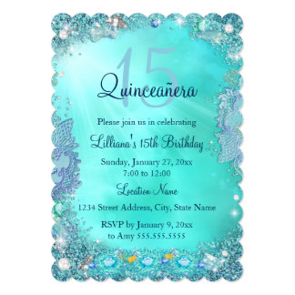"""Fiesta de cumpleaños azul de la joya del océano invitación 5"""" x 7"""""""