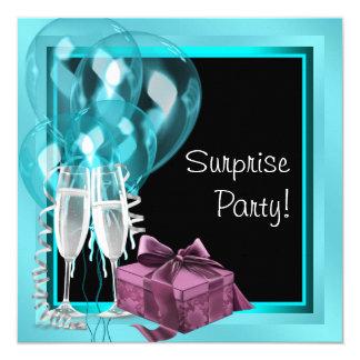 """Fiesta de cumpleaños azul de la sorpresa del invitación 5.25"""" x 5.25"""""""