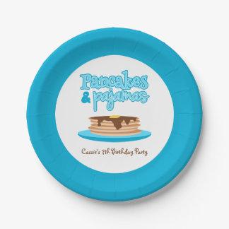 Fiesta de cumpleaños azul de las crepes y de los plato de papel de 7 pulgadas