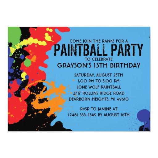 """Fiesta de cumpleaños azul de Paintball de la Invitación 5.5"""" X 7.5"""""""