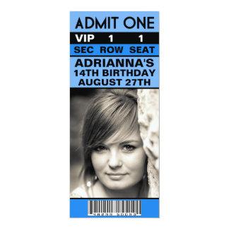 Fiesta de cumpleaños azul del boleto de la foto de invitación 10,1 x 23,5 cm