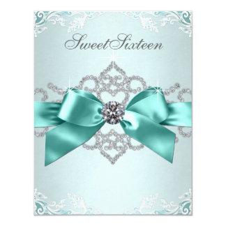 Fiesta de cumpleaños azul del dulce 16 del trullo invitaciones personales