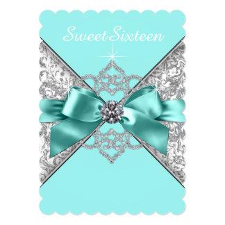 """Fiesta de cumpleaños azul del dulce 16 del trullo invitación 5"""" x 7"""""""