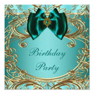Fiesta de cumpleaños azul del jade y del oro del comunicados personales