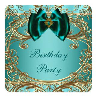 """Fiesta de cumpleaños azul del jade y del oro del invitación 5.25"""" x 5.25"""""""