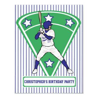 Fiesta de cumpleaños azul del jugador de béisbol invitación 10,8 x 13,9 cm