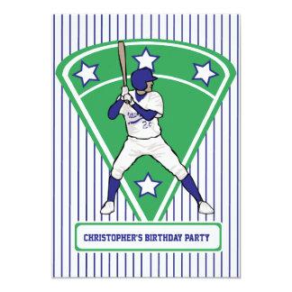 Fiesta de cumpleaños azul del jugador de béisbol invitación 12,7 x 17,8 cm