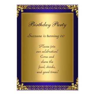 Fiesta de cumpleaños azul del mejor 50.o oro invitación 12,7 x 17,8 cm
